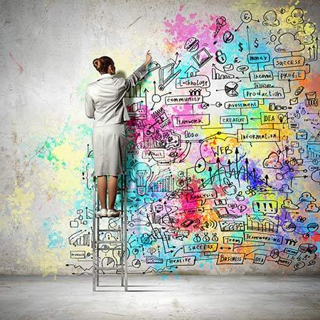 Frau beim Mind-Mapping an der Wand