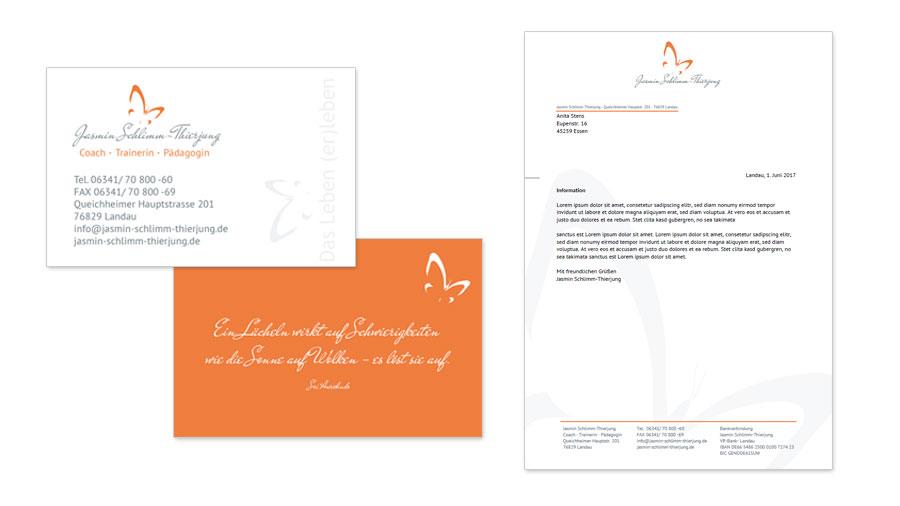 Jasmin Schlimm-Thierjung Visitenkarten & Briefpapiervorlage