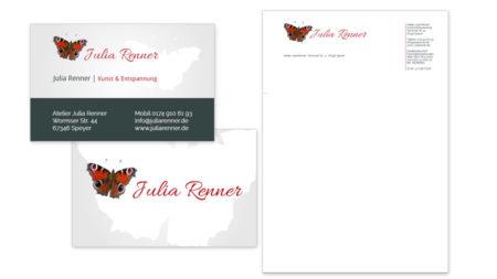 Julia Renner Visitenkarten & Briefpapiervorlage