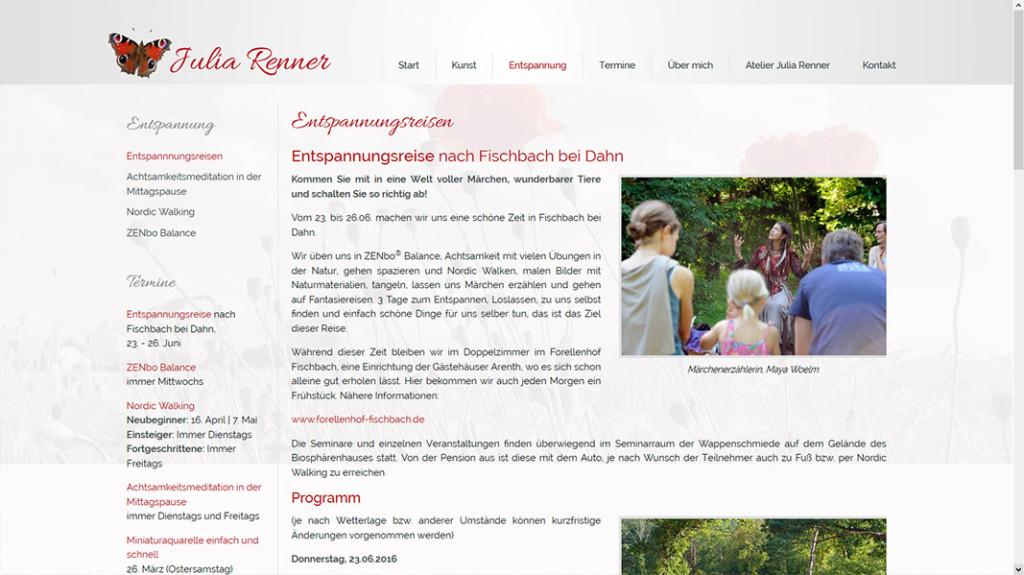 Julia Renner Unterseite: Entspannungsreisen