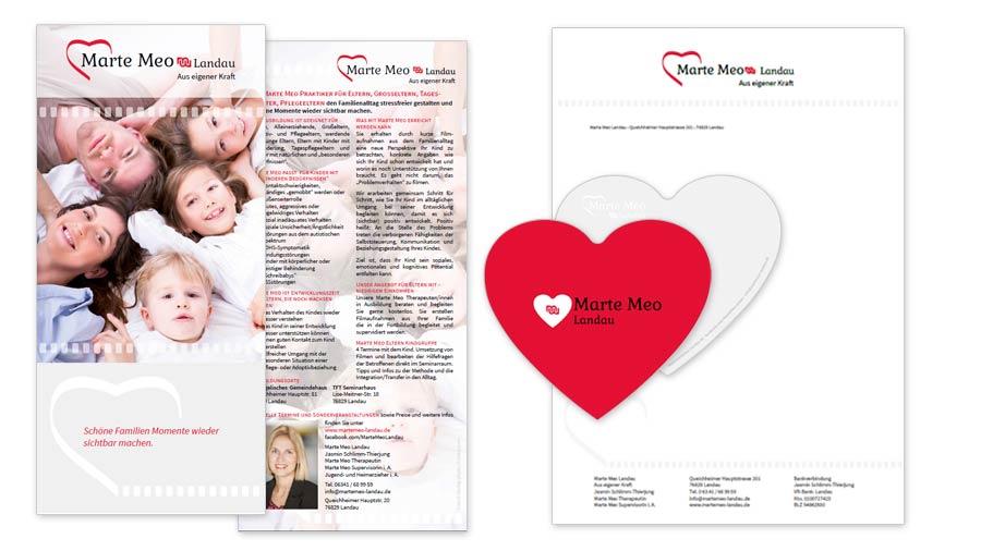 Marte Meo Landau Flyer DIN lang & Herz Flyer Grußkarte & Briefpapier