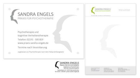 Praxis Sandra Engels: Praxisschild & Briefpapier & Stempel
