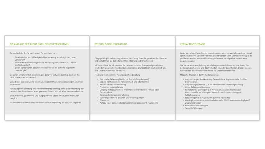 Praxis Sandra Engels: Faltblatt Innen, 6 Seiten