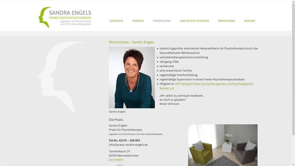 """Praxis Sandra Engels Unterseite """"Persönliches"""""""