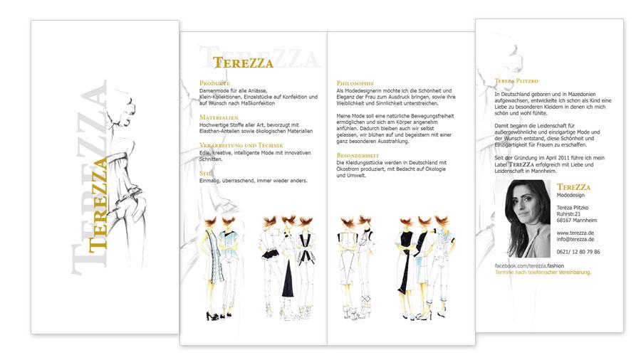 Terrezza Modedesign Faltblatt Flyer