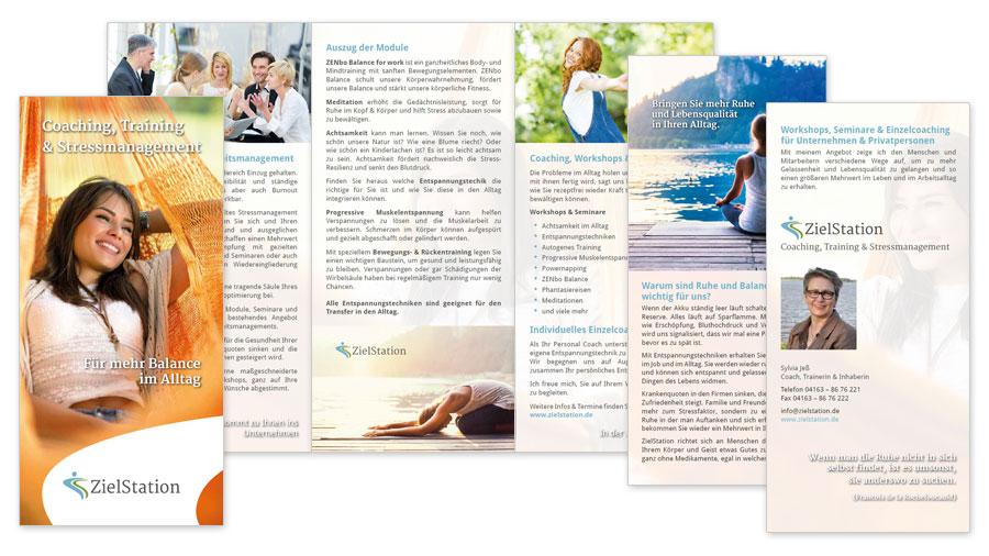 ZielStation Faltblatt Flyer 6 Seiten