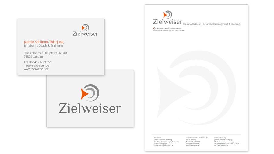 Zielweiser Briefpapiervorlage & Visitenkarten