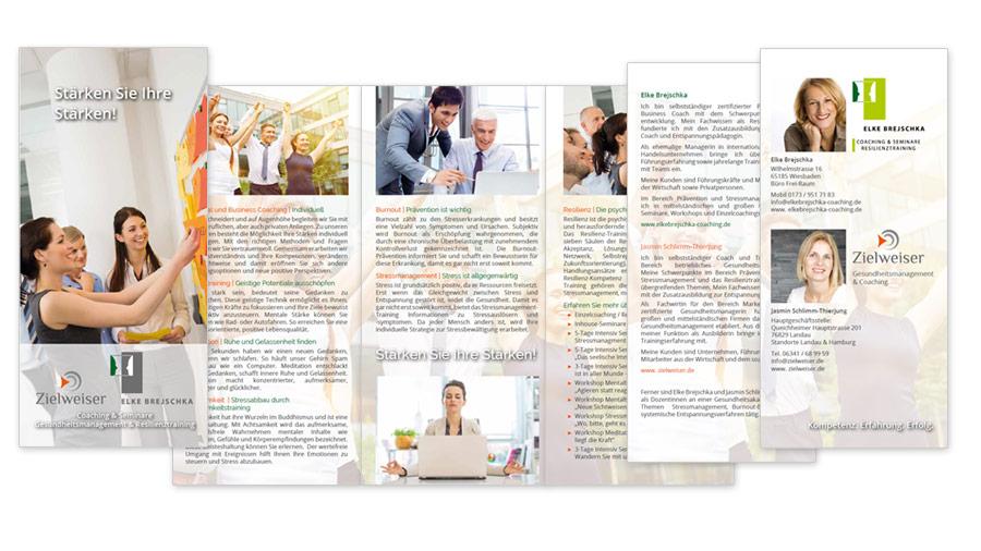 Referenz Zielweiser Faltblatt 6 Seiten