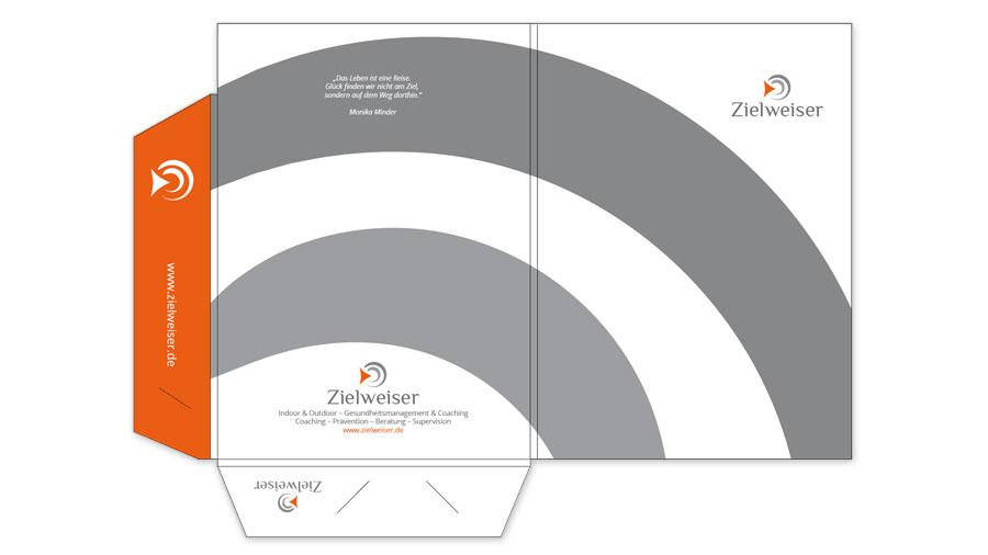 Mappen 2-teilig mit Laschen & Klemmschlitzen für Visitenkarten