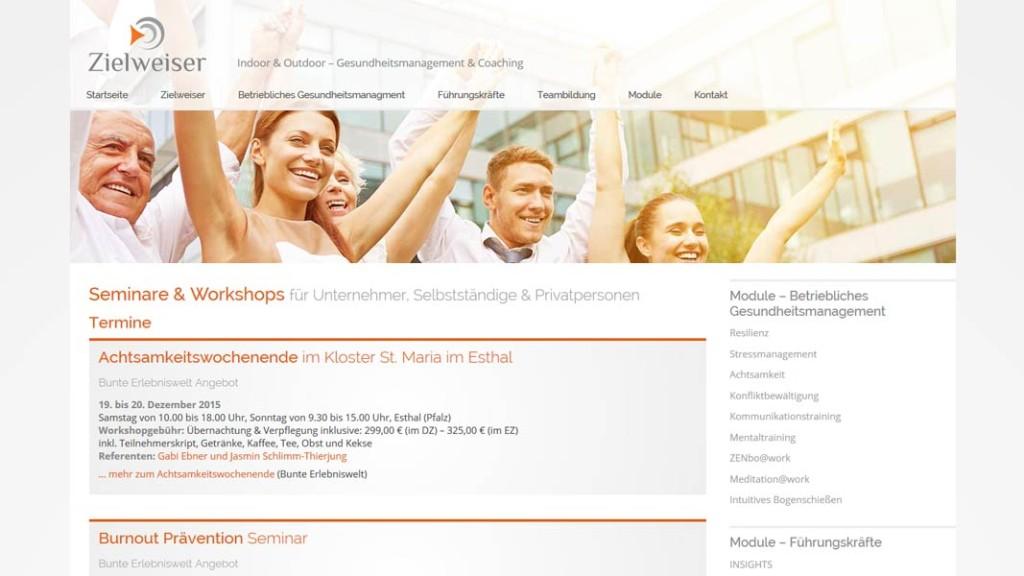 Zielweiser Unterseite: Termine. Seminare & Workshops
