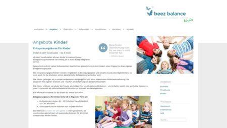 beez balance - Unterseite: Kinderangebot