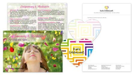 """bunte Erlebniswelt Image-Flyer DIN A6 """"Kinder"""" & Herz Grußkarte & Briefpapier"""