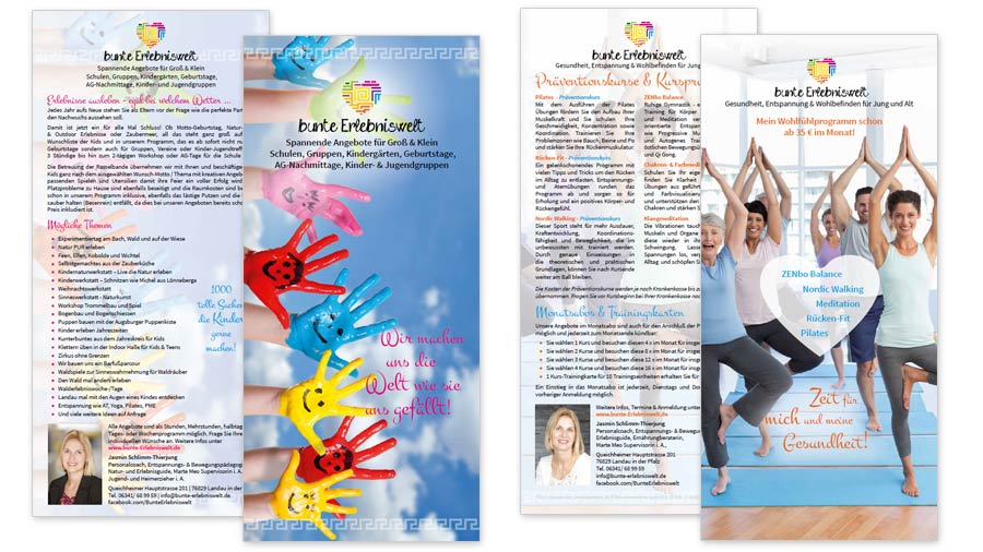 bunte Erlebniswelt Flyer DIN lang Kindergruppen Erlebnisse & Kursprogramm