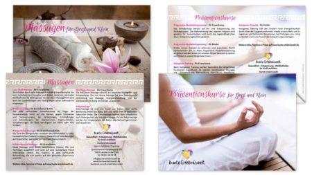 "bunte Erlebniswelt Image-Flyer A6 ""Massagen"" & ""Präventionskurse"""