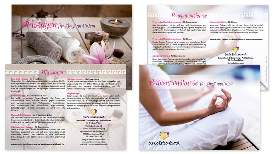 "bunte Erlebniswelt Image-Flyer A6 ""Massagen"" & ""Präventiionskurse"""