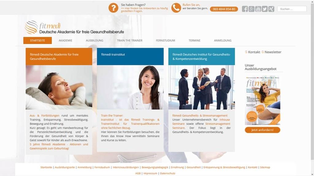 Startseite der fitmedi Akademie Webseite