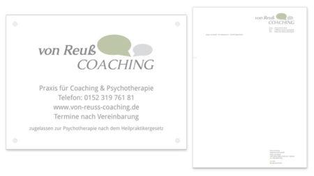 von reuß Coaching Praxisschild & Briefpapier