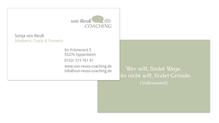 von reuß Coaching Visitenkarten